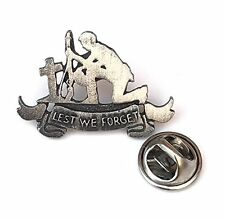 Lest We Forget Remembrance Soldier Commemorative Pewter Lapel Pin Badge