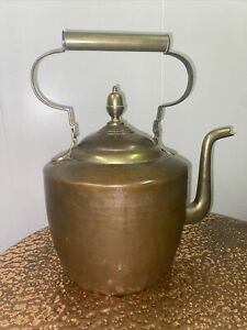 """Large Copper and Brass effect kettle 14.5"""" high. Arts And Crafts Style"""