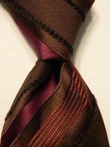 CANALI Men's Silk/Rayon XL Necktie ITALY Luxury STRIPED Brown/Purple Orange EUC