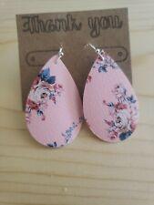 Handmade Pink Floral Faux Leather Earrings Teardrop