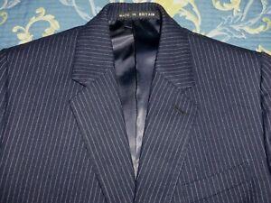 BESPOKE 3 PIECE SUIT PIN STRIPE TWEED JACKET & WAISTCOAT 40 TROUSERS 36 - 38 MOD