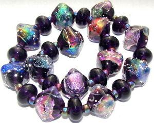"""Sistersbeads """"O-Violet Crystals"""" Handmade Lampwork Beads"""