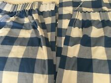 Laura Ashley blue and white checked curtains.