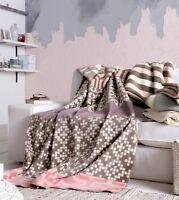 IBENA Girly Powder Pink Jacquard Woven Cotton Blend Oversized Throw Blanket