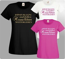 HINFALLEN aufstehen KRONE richten Damen T-Shirt Girlie Fun Shirt Prinzessin edel