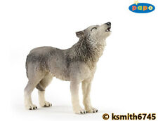 Papo HOWLING GREY WOLF solid plastic toy wild animal dog predator * NEW *💥