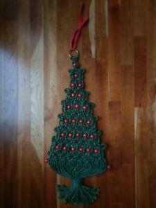 Macrame Boho Christmas Tree Wall Hanging Red Wood Beads Green Fiber Art Vtg MCM