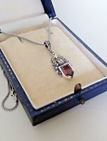Art Deco Sterling Silver Garnet Marcasite Pendant Necklace