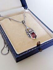 Art Deco Sterling Silver Garnet Marcasite Pendant Necklace