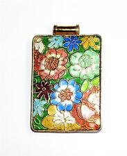 PENDANT/NECKLACE Multi-Color Enamels Floral CLOISONNE STYLE FLOWERS