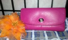 Coach TriFold Twist Lock Pink Fuschia Park Leather Large Checkbook Wallet 2