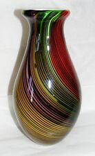 VINCI hand fused glass vase MAGNIFICENT COLORING! SEE ALL PICS