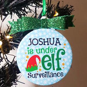 Personalised Elf Surveillance Hanging Christmas Tree Decoration Green Bow