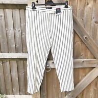 M&S Collection Ivory Stripe Slim Ankle Grazer Trousers Size 18 Short BNWT