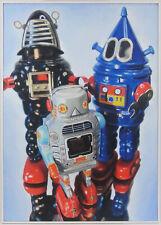 Giampaolo Frizzi Portrait of a family serie vintage robot toys quadro a olio