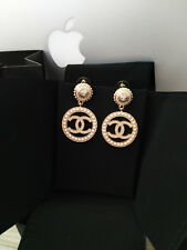 CHANEL Large CC Logo Pearls Earrings Round Circle Gold Drop Dangle Earrings