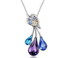 New Style fashion Jewelry purple&blue Crystal Rhinestone Pendant Necklace Chain