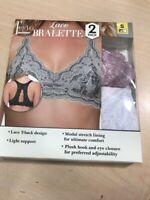 Felina 2PK Women's Lace Bralette Bra Comfortable  black/gray or pink/white NEW