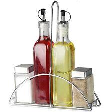 5Pc Glass Cruet Set Salt Pepper Oil Vinegar Stand Condiment Kitchen Serving New