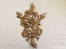 Vintage Solid Brass Rose Plaque Wall Decore Decoration Victorian