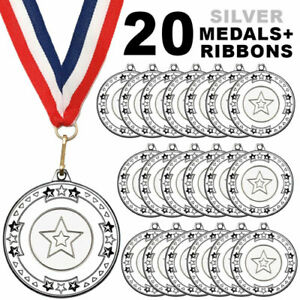 Pack 20 x 50mm Junior Sports Silver Medals with Red White and Blue Ribbons Kids