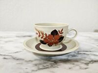 Winterling Bavaria Roslau China Coffee Cup & Saucer Set Tan Rust Floral Pattern