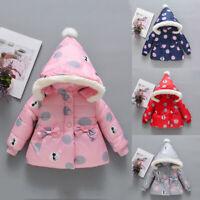 Kids Baby Boy Girl Winter Coats Jacket Thick Ears Snowsuit Hoodie Velvet Clothes