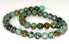 10MM AFRICAN TURQUOISE GEMSTONE GRADE A GREEN ROUND 10MM LOOSE BEADS 7""