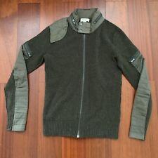 Diesel Mens Jacket Utility Olive Green Full Zip Army Jacket Wool Canvas Sz S EUC