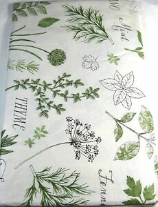 Herbs Flannel Back Vinyl Flannel Back Tablecloths Assorted Sizes Green & White