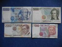 serie 4 banconote 1000 2000 5000 10.000 lire FDS fior di stampa