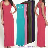 Womens Ladies Stretch Bodycon Long Maxi Dress Vest Sleeveless Plain Racer Back