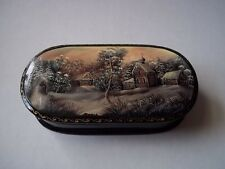 Russian Lacquer box.  Winter Village scene.  New, some imperfections.