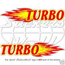 """Fuego Turbo Rally Racing 200 mm (8"""") Pegatinas de vinilo, calcomanías x2"""