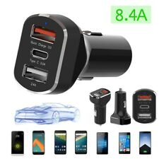 Usb-c Car Charger Type-c Quick Fast Charge 3 Port 39w Qc3.0 for Cellphone 12-24v