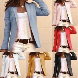 Women Ladies Long Sleeve Blazer Jacket Formal Office Work Slim Coat Suit Outwear