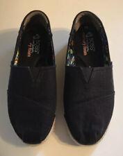 Bobs From Skechers Women's Black Canvas Wedge Memory Foam Shoes Size 9