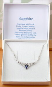 Sterling Silver Sapphire (Lab Created) Necklace/Sapphire Jewellery UK