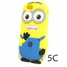 for iPhone 5C - CUTE YELLOW BLUE MINION Soft Silicone Rubber Skin Case Cover
