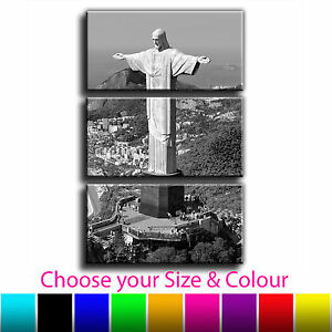 Brazil Rio Christ The Redeemer Landscape Treble Canvas Wall Art Picture Print 1