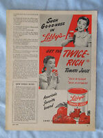 1949 Magazine Advertisement Page For Libby's Canned Tomato Juice Ad