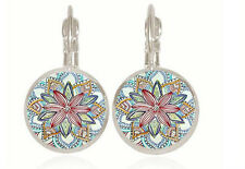 1 pair Mandala silver Trendy Glass cabochon 18 MM Lever Back Earrings