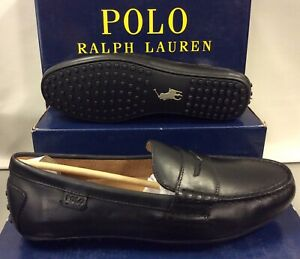 Polo Ralph Lauren Wes Drv Black Leather Mens Loafers Moccasins Shoes UK 7 EUR 41