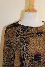 NWT Laura Ashley -Sz 1X Abstract Gold Black Ethnic Funky Travel Knit Top Shirt