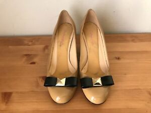 $328 Kate Spade Patent leather Studded bow wedge heels shoes sz 5.5M