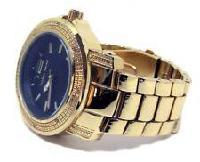 Tendencia Techno Chapado en Oro Diseño Hexagonal Iced Imitación Diamante Hiphop Reloj para hombre
