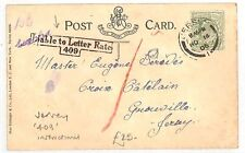 AN89 1905 JERSEY Local Postard Liable to Letter Rate 409 instructional