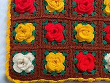vintage crochet granny square pillow cover handmade cabincore floral