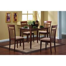 Classic 5-Piece Dining Set with Rectangular Table and 4 Chairs in Chestnut Wood