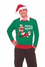 Novelties Naughty Santa Novelty Christmas Sweater,Kelly Green/Red, Large #314803
